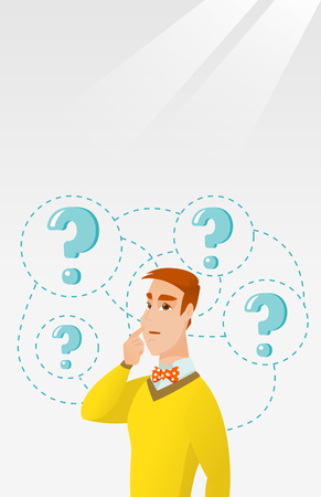 opportunity sign: Young business man thinking vector illustration.