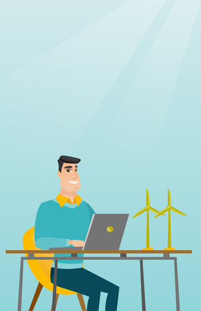 Man working with model of wind turbines.