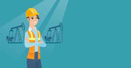 Cnfident oil worker vector illustration.