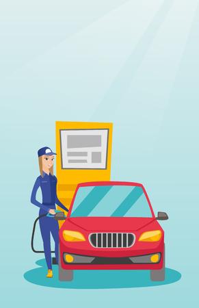 litre: Worker filling up fuel into car.
