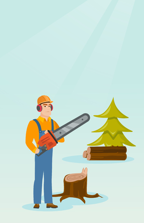 Lumberjack with chainsaw vector illustration. 矢量图像