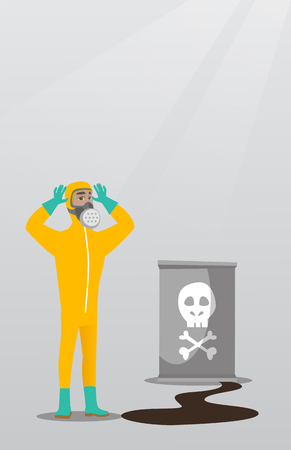 Concerned man in radiation protective suit. Illustration