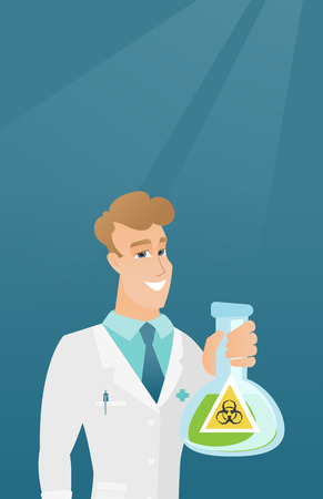 Scientist holding flask with biohazard sign. Illustration