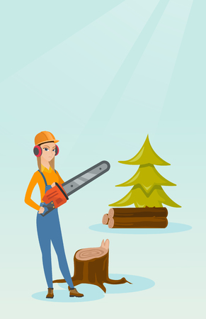 Lumberjack with chainsaw vector illustration. Illustration