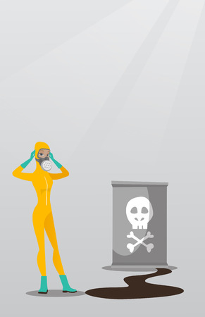 Woman in radiation protective suit.