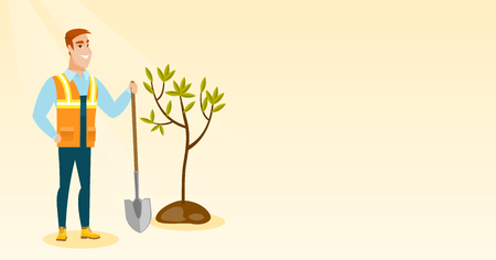 Man plants tree vector illustration. Stock Illustratie