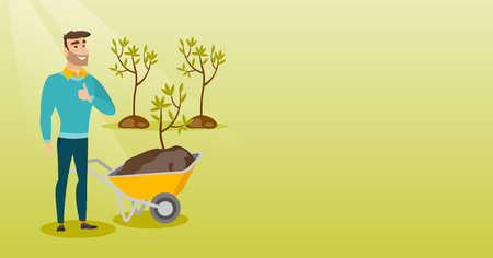 Man pushing wheelbarrow with plant. Illustration