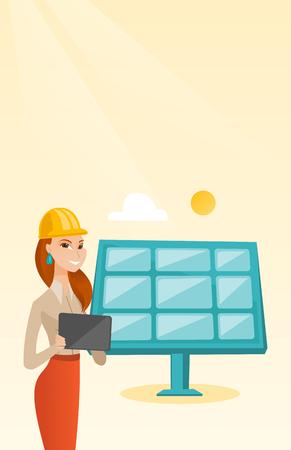 Female worker of solar power plant. 向量圖像
