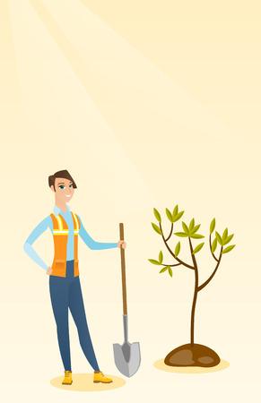 Woman plants tree vector illustration. Vectores