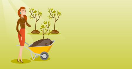 Woman pushing wheelbarrow with plant. Illustration