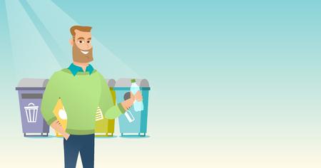 ペットボトルを捨てる男。  イラスト・ベクター素材