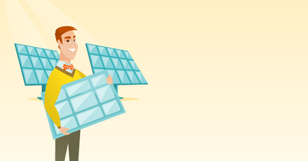 Man holding solar panel vector illustration.