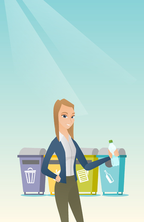 Caucasian woman throwing away garbage. Woman standing near four bins and throwing away garbage in an appropriate bin. Concept of garbage separation. Vector flat design illustration. Vertical layout. Çizim