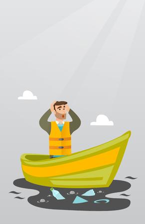 衛生労働者ボートに浮かんでいると、水の中からゴミをキャッチします。汚染された水を見ながら頭を握りしめている男性。水汚染の概念。ベクト
