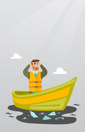 Sanitation worker floating in a boat and catching garbage out of water. Man clutching head while looking at polluted water. Water pollution concept. Vector flat design illustration. Vertical layout.