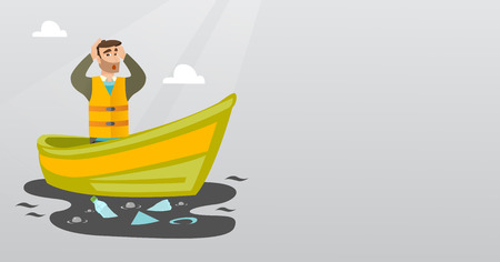 Sanitation worker floating in a boat and catching garbage out of water. Man clutching head while looking at polluted water. Water pollution concept. Vector flat design illustration. Horizontal layout. Illustration