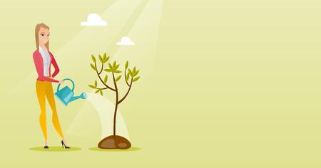 Femme amicale caucasienne, arrosage des arbres. Femme jardinier avec arrosoir. Jeune femme jardinage. Concept de protection de l'environnement. Illustration vectorielle de design plat. Disposition horizontale.