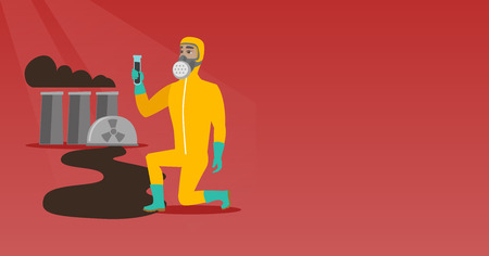 Young caucasian scientist in gas mask and radiation protective suit holding a test-tube with black liquid on the background of nuclear power plant. Vector flat design illustration. Horizontal layout.