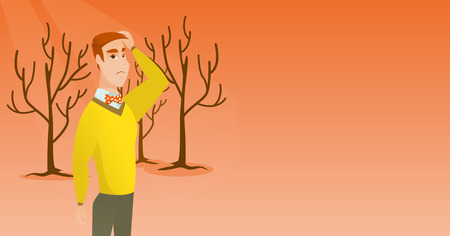 man caused: Caucasian man scratching head on the background of dead forest. Dead forest caused by global warming or wildfire. Environmental destruction concept. Vector flat design illustration. Horizontal layout.