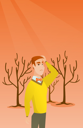 Caucasian man scratching head on the background of dead forest. Dead forest caused by global warming or wildfire. Concept of environmental destruction. Vector flat design illustration. Vertical layout