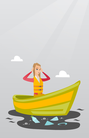 Sanitation worker working on boat to catch garbage out of water. Young woman clutching head while looking at polluted water. Water pollution concept. Vector flat design illustration. Vertical layout.