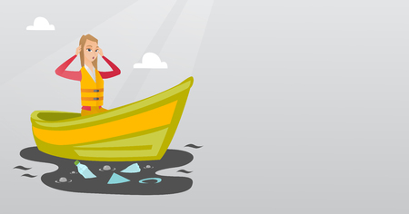Sanitation worker working on boat to catch garbage out of water. Woman clutching head while looking at polluted water. Water pollution concept. Vector flat design illustration. Horizontal layout. Illustration