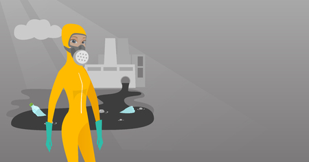 Caucasian woman in mask and radiation protective suit standing on the background of nuclear power plant. Scientist wearing radiation protection suit. Vector flat design illustration. Horizontal layout