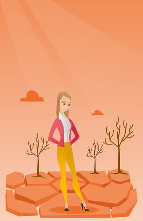 Caucasian woman standing in the desert. Frustrated young woman standing on cracked earth in the desert. Concept of climate change and global warming. Vector flat design illustration. Vertical layout. Illustration