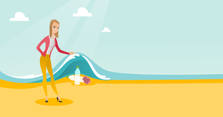 Caucasian woman showing plastic bottles under water of sea. Young woman collecting plastic bottles from water. Water and plastic pollution concept. Vector flat design illustration. Horizontal layout. Ilustração