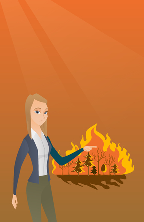 hot woman: Caucasian woman pointing at forest in fire. Frustrated woman standing on the background of a big forest fire. Concept of environmental destruction. Vector flat design illustration. Square layout.