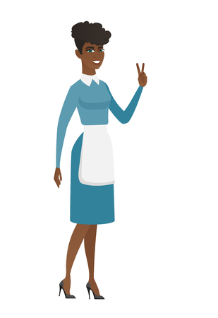 African cleaner in uniform showing victory gesture. Young cleaner showing the victory sign with two fingers. Cleaner with victory gesture. Vector flat design illustration isolated on white background.