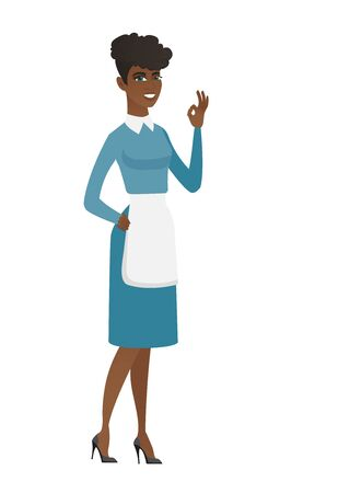 African smiling cleaner showing ok sign. Full length of young happy cleaner cleaner making ok sign. Successful cleaner gesturing ok sign. Vector flat design illustration isolated on white background.