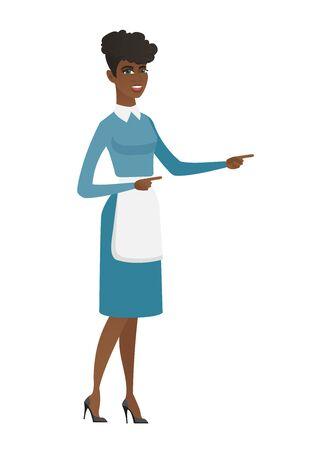 Limpiador africano apuntando hacia un lado. Longitud total de limpiador joven que señala su dedo al lado. Limpiador apuntando hacia el lado derecho. Ilustración de diseño plano de vector aislado sobre fondo blanco.