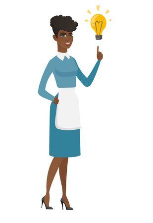 Limpiador africano que señala en la bombilla brillante de la idea brillante. Integral de joven sonriente limpiador tener idea creativa. Concepto de idea exitosa. Vector ilustración de diseño plano aislado sobre fondo blanco.