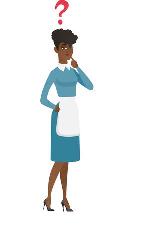 クエスチョン マークの洗剤を考えてください。全長思慮深いのクリーナーに疑問符が付きます。彼女の頭の上にクエスチョン マーク付きの掃除機。