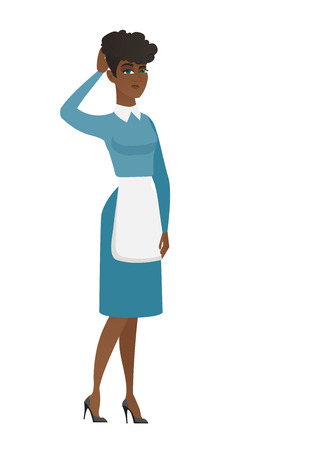 African cleaner in uniform scratching her head. Full length of young thoughtful cleaner scratching head. Puzzled cleaner scratching head. Vector flat design illustration isolated on white background. Illustration