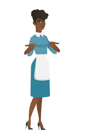 Confused african cleaner in uniform shrugging her shoulders. Full length of young doubtful cleaner gesturing hands and shrugging shoulders. Vector flat design illustration isolated on white background Illustration