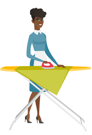 ironing: African maid ironing clothes using iron on ironing board after laundry. Full length of young hotel maid ironing clothes on ironing board. Vector flat design illustration isolated on white background.