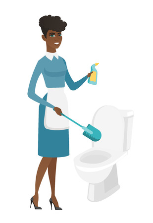 African cleaner in uniform cleaning toilet bowl with brush and detergent. Full length of young cleaner cleaning toilet seat using brush. Vector flat design illustration isolated on white background.