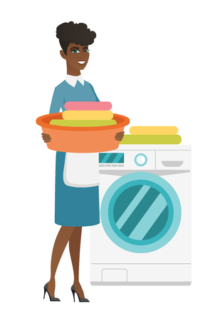 dirty clothes: African housewife using washing machine at home laundry. Full length of young happy housewife loading laundry washing machine with clothes. Vector flat design illustration isolated on white background