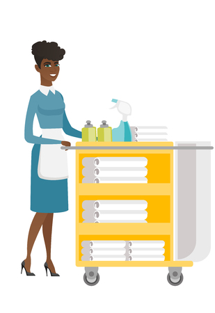 hotel staff: African female chambermaid pushing cart with bed clothes. Full length of young chambermaid with trolley with linen. Hotel room service. Vector flat design illustration isolated on white background.