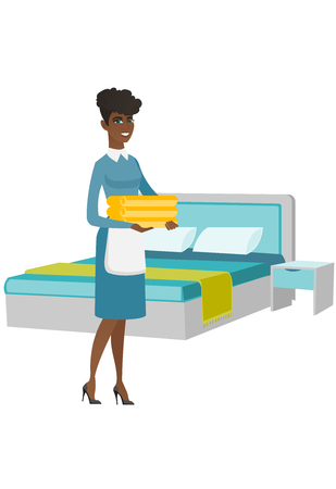 African housekeeping maid with stack of linen. Full length of young housekeeping maid making bed in a hotel room. Hotel room service. Vector flat design illustration isolated on white background.