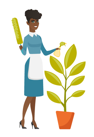 African housemaid in uniform watering the flower with spray. Full length of young housemaid with flower. Home cleaning service concept. Vector flat design illustration isolated on white background.