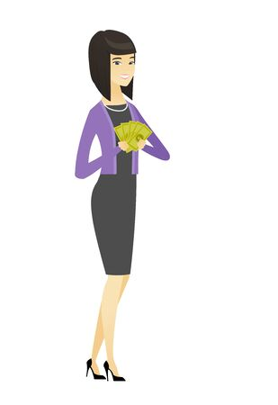 Asian business woman holding money. Excited business woman standing with money in hands. Full length of young business woman with money. Vector flat design illustration isolated on white background. Illustration