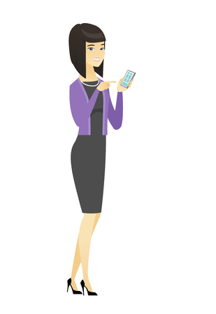 Business woman holding mobile phone and pointing at it. Full length of business woman with mobile phone. Business woman using mobile phone. Vector flat design illustration isolated on white background Illustration