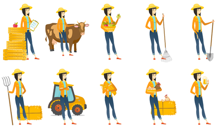 lady cow: Vector set of illustrations with farmer characters Illustration
