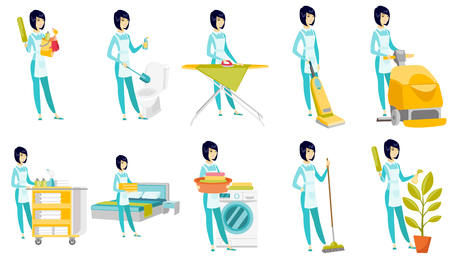 Vector set of illustrations with cleaner character