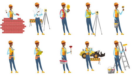 theodolite: Vector set of builder characters.
