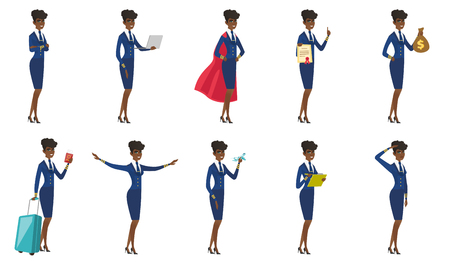 arms folded: Vector set of stewardess characters. Illustration