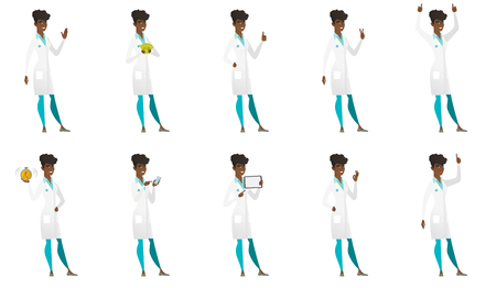 doctor tablet: Vector set of doctor characters. Illustration